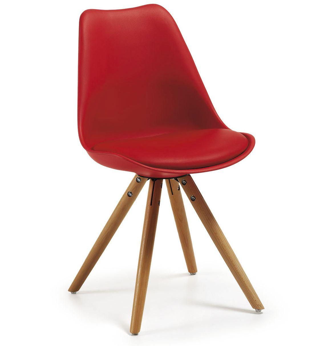Chaise ralf cuir lisse pieds bois lot de 2 ou 4 kave for Chaise en plastique
