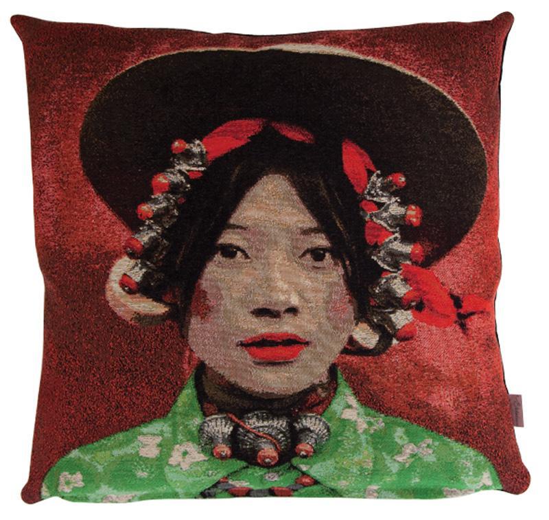 coussin tibetan jeune fille fs home collection site fran ais de vente d. Black Bedroom Furniture Sets. Home Design Ideas