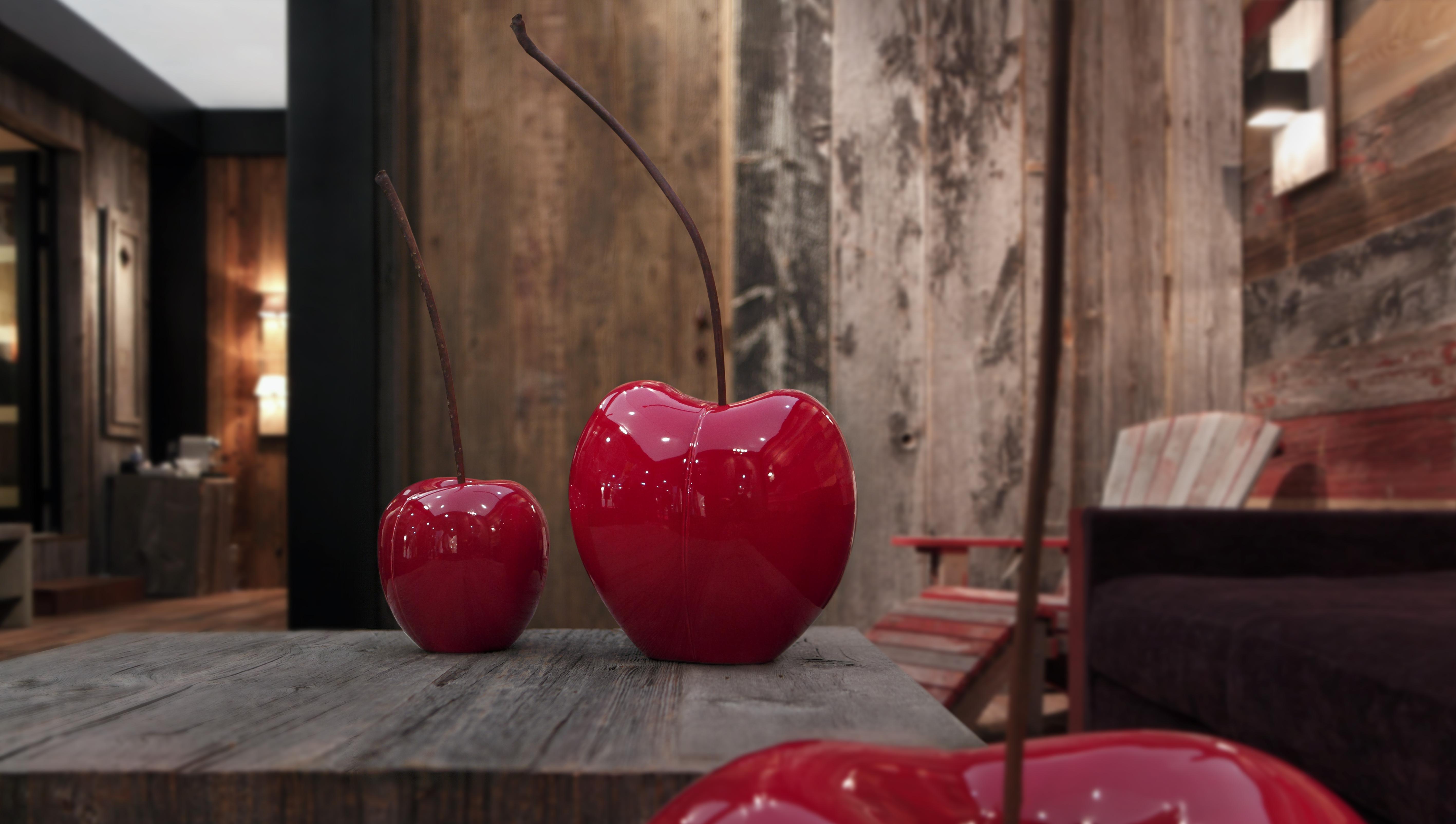 cerise cramique brillant glac bordeaux h30cm - Pomme Ceramique Pour Decoration