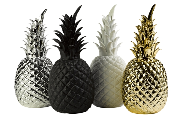 Ananas c ramique blanc pols potten for Ananas dekoration